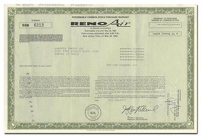 Reno Air, Inc. Stock Certificate