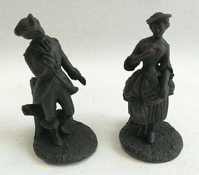 Vtg Pair of Cast Metal Spelter? Victorian Figures Of a Lady, Woman & Gent, Man