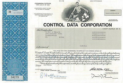 Control Data Corporation > CDC early tech supercomptuer stock certificate