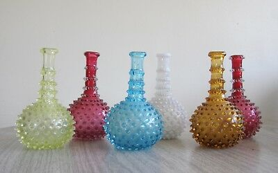 Antique barber bottle set: opalescent colored glass bottles