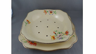 J & G MEAKIN of England PLATE AND STRAINER 2 pce - Pattern is called Rainbow