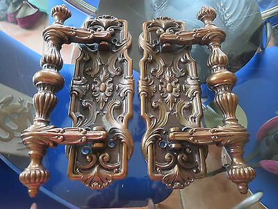 Ornate Pair of Antique Cast Bronze Door Handles  Made in Italy