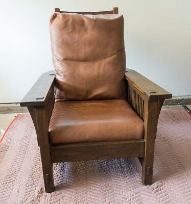 Original Vintage Stickley Oak and Leather Spindle Style Morris Chair Arts Crafts