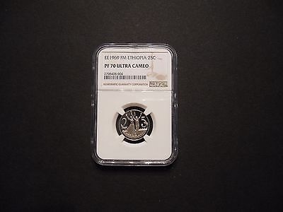 1977 (ee1969) Ethiopia 25 Cents NGC Pf 70 Ultra Cameo