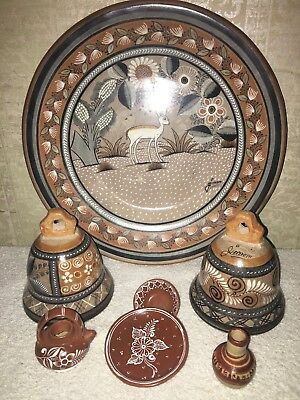 *** Vintage Mexican Tonala Clay Pottery Ceramic Hanging Plate Hand Painted Decor