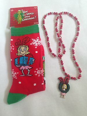 GRINCH And Cindy Lou Socks And Necklace