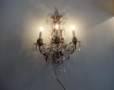 Antique Vtg Italian Gold Tole French Czech Crystals Chandelier Sconce Wall Lamp
