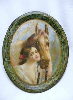 Antique Victorian 1905 OVAL TRAY - WOMAN & HORSE HEAD Cupids CHAS EHLEN
