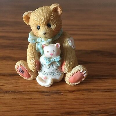 """Tiny Cherished Teddy ~ 1 1/2""""  ~ Your Purr-fect ~ 1993 bear with Kitty ~ 916382"""