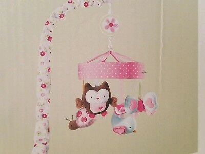 New - Musical Mobile By Circo - Girl's Pink With Owl, Lady Bug, Butterfly, And B