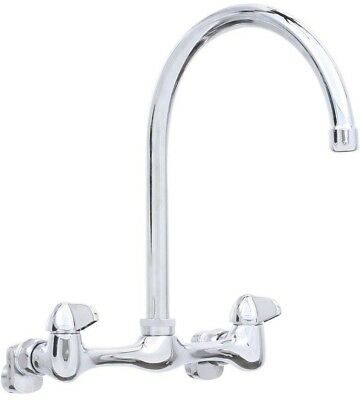 Chrome Ceramic Valve Standard Metal 2 Handle Wall Mount High Arc Kitchen Faucet