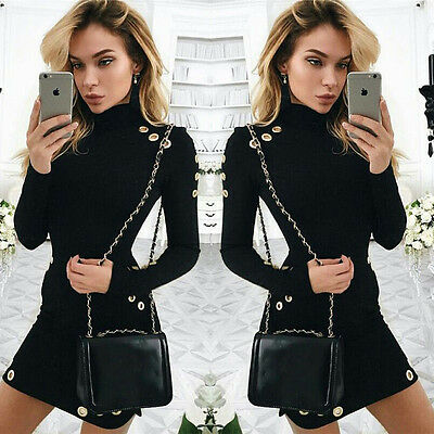US Women Sexy Black Bodycon Long Sleeve Casual Party Cocktail Evening Mini Dress