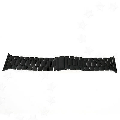 42mm Black Replacement Stainless Steel Strap Classic Buckle Watch With Adapter
