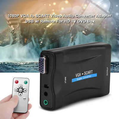 1080P VGA to SCART Video Audio Converter Adapter USB w/Remote For HD TV DVD Box