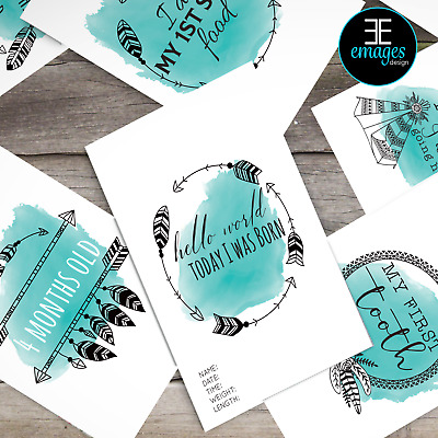 Unisex Milestone Cards Pack 29 Brand New Teal Boho