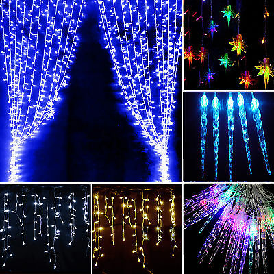 LED Icicle String Fairy Curtain Lights Waterfall Christmas Wedding Party Decor