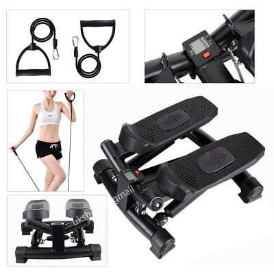 Mini Stepper Air Stair Climber Swing Exercise Fitness Tread with Bands and LCD