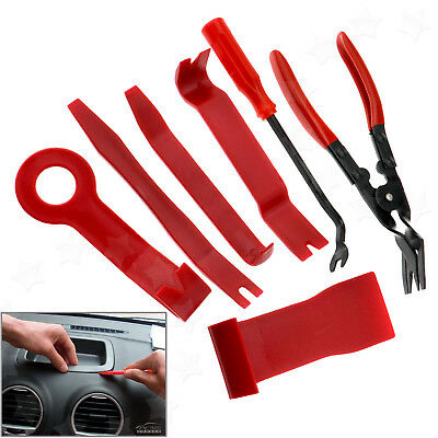 7Pc Car Door Panel Trim Clip Removal Plier & Upholstery Remover Pry Bar Tool Set