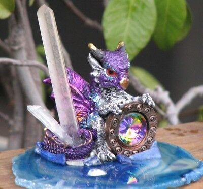 Hand crafted -Dragon Figure With Clear Quartz Crystal on Agate Slice