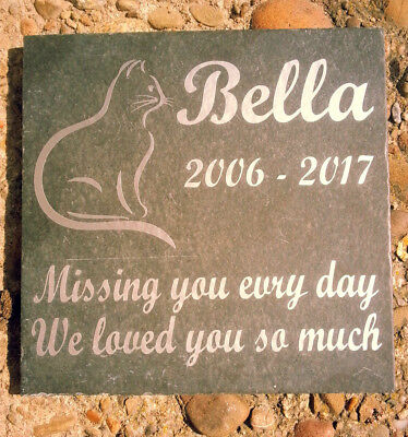 Deeply engraved  Slate Pet Memorial Grave Marker Plaque Cat size 10 x 10 cm
