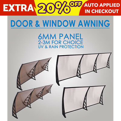 1x 2/1x3m Outdoor Window Door Awning Canopy Patio Sun Shield Polycarbonate Cover