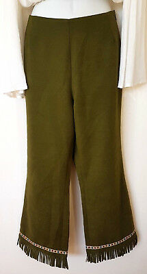 Vintage Vallen Designer Boho Pants~ 3/4 Cropped~ Fringed Cuff~ Size Medium 10 12