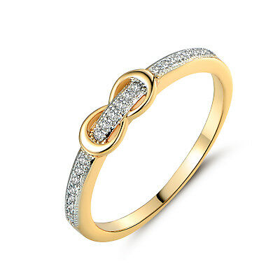 Bow Knot 18K Silver & Yellow Gold Filled Pave Diamond Women Lady Wedding Rings