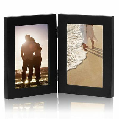 "WOLTU 4x6"" Double Folding Picture Frame for Tabletop, Black"