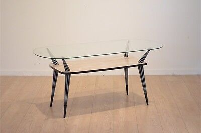 Design Italien 1950's : Table Basse Salon en Bois Bicolore & Verre