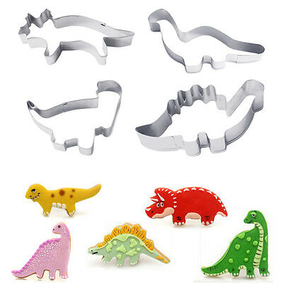 4PCS Stainless Steel Dinosaur Cookies Cutter Biscuit Pastry Cake Fondant Mould