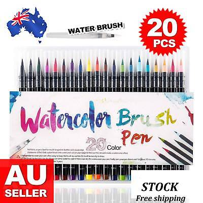 20 Colour Watercolor Brush Pens Painting Drawing Artist Sketch Manga Marker Set