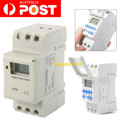 220-240V 16A DIN Rail Digital LCD Power Programmable Timer Time Relay Switch AC
