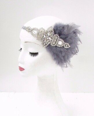 Dark Grey Silver Feather Headband 1920s Flapper Headpiece Great Gatsby Vtg 3830