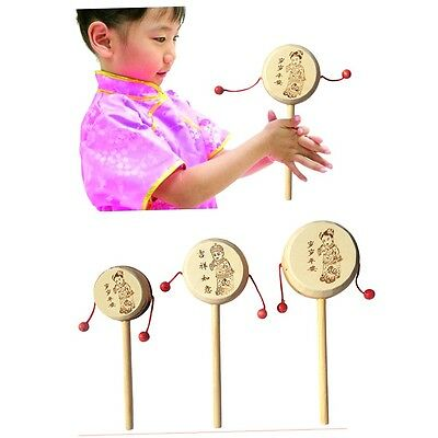 Baby Kids Child Wood Rattle Drum Instrument Child Musical Toy Chinese Styles YP