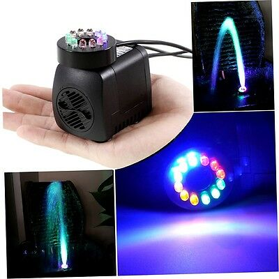 Submersible Pump with 12 Colored LED Light for Aquarium Fountain Hydroponics YP