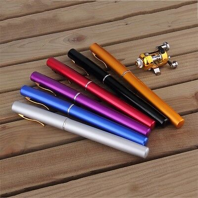 Mini Portable Aluminum Alloy Pocket Pen Shape Fish Fishing Rod Pole With Reel YP