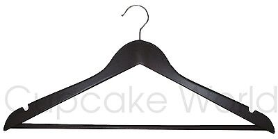 Clearance!!!! 40Pk Timber Chocolate Brown Wooden Clothes Coat Hanger Silver Hook