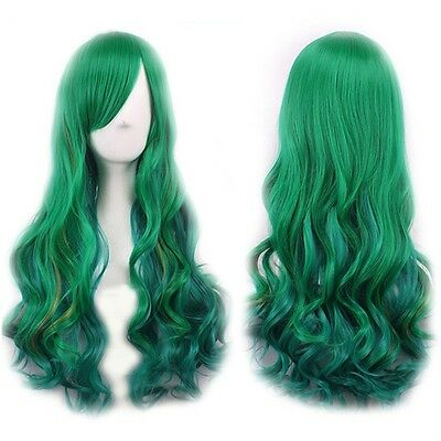 65cm Ladies Green Gradient Change Long Curly Full Wig Hair Extension Cosplay YP