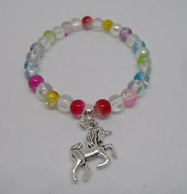 Unicorn Bracelet with Multi Coloured Crackle Glass Round Beads