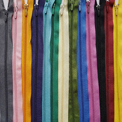 """16""""(40CM)Nylon Zips for Sewing&Crafts Closed End AutoLock COLOR QUICK POST UK"""