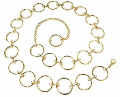 Ladies/Women's Vintage Waist Gold Ring Metal Chain Belt- One Size