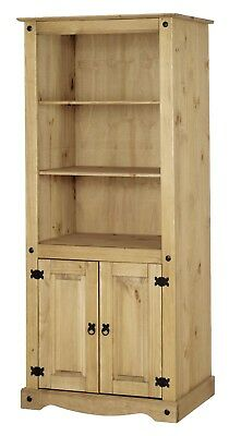 Corona 2 Door Bookcase Display Unit - Mexican Solid Pine, Rustic, Distressed