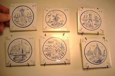 """Vintage, Set Of 6 Dutch, Delft Style, Small Hand Painted 3"""" Tiles"""