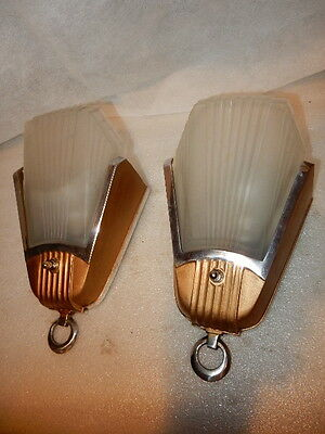 Deco Era Slip Shade Wall Sconces 1920s - 1930s.