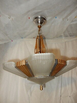 1930s Art Deco Six Light Streamlined Slip Shade Chandelier--