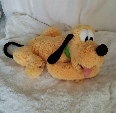 "Mickey Mouse Disney Parks Pluto 14"" Plush Green Collar Stuffed Animal Official"