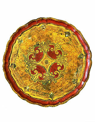 ITALIAN FLORENTINE Red & Gold Toleware Large Round Tray Bracket Gilt Wood Tole