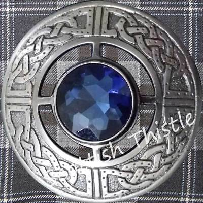 Scottish Kilt Fly Plaid Brooch Antique Finish Blue Stone/Ladies Celtic Brooches