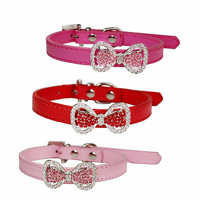BU_ Crystal Bling Bowknot Pet Cat Kitten Puppy Suede Collar With Bell Proper