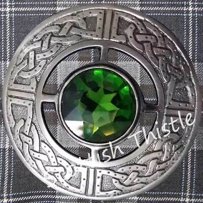 Scottish Ladies Kilt Fly Plaid Brooch Green Stone Silver Antique Finish/Celtic